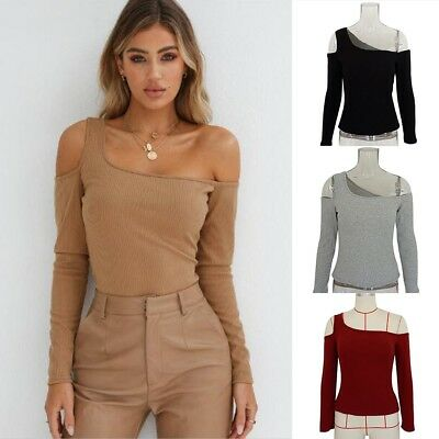 Women Ladies Fashion Sexy Off Shoulder Blouse T-Shirts Stretch Slim Jumper Tops