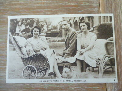 vintage unused post card His Majesty the King  with Royal Princesses