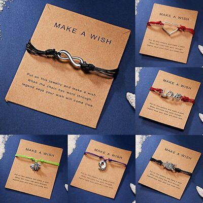 NEW Women Wish Bracelet Love Heart Owl 8 Charms Handmade Rope Card Jewelry Gifts