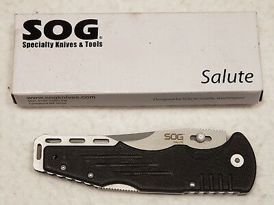 "SOG Salute Folding Knife FF10-CP - Bead Blasted 3.625"" Blade, G10 Handle"