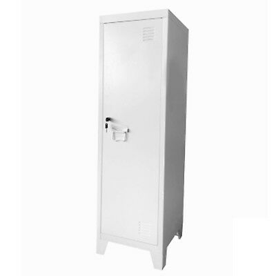 White Metal Steel Stationary Cupboard Filing Locker Storage Cabinet 38x38x127cm