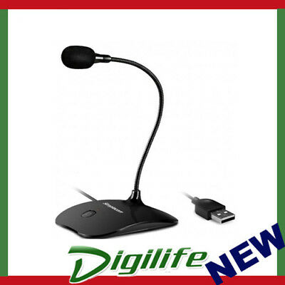 Simplecom UM350 Plug and Play USB Desktop Microphone with Flexible Neck and Mute