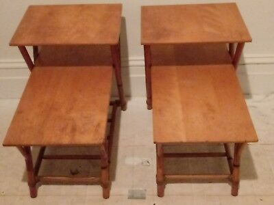 Mid Century modern Heywood Wakefield Bamboo End Tables side solid wood tops