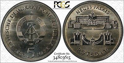 CHEAP! East Germany 1986-A 5 Mark, New Palace, PCGS MS66