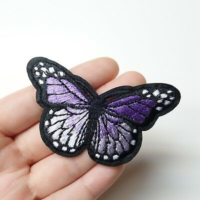 """Purple Monarch Butterfly Patch Iron-On/Sew-On Embroidered Applique, 3"""" Large"""
