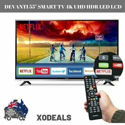 DEVANTi 55 Smart TV 4K UHD HDR LED LCD Ultra Slim Wide Youtube Netflix Home Ente