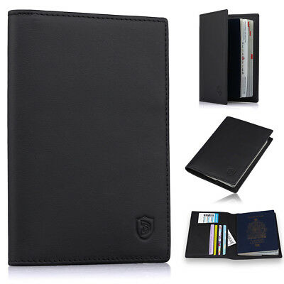 Men's Slim Leather Passport Holder Cover Case RFID Blocking Travel Wallet Black