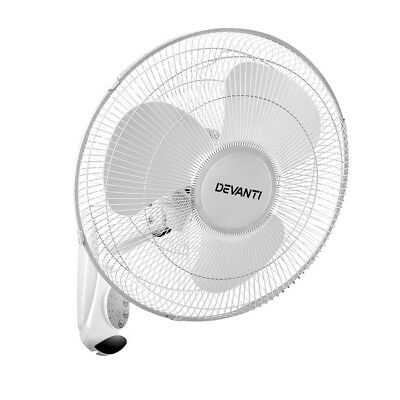 Devanti Oscillating Wall Mounted Fan Remote Control Timer Mount Cooler 16'' W...