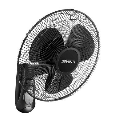 Devanti Oscillating Wall Mounted Fan Remote Control Timer Mount Cooler 16'' B...