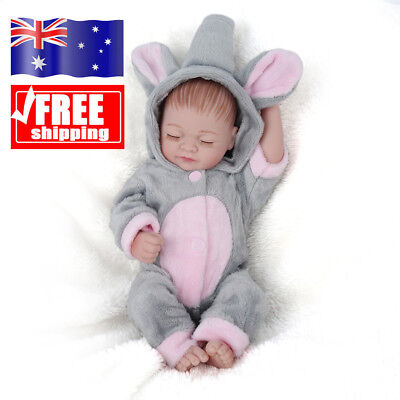 10'' Vinyl Silicone Full Body Baby Reborn Girl Dolls Doll+ Elephant Clothes Gift