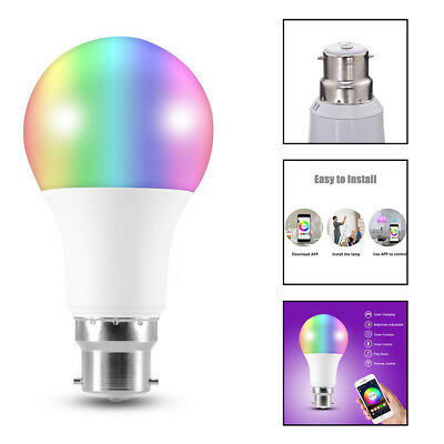 New Wireless Wifi B22 Smart LED Light Bulb RGB Color Changing Dimmable For Alexa