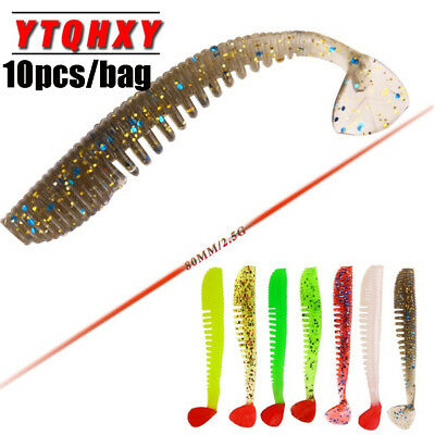 Stable 80mm 2.5g T Tail Carp Silicone Worm Fishing Lures Soft Bait Swimbait
