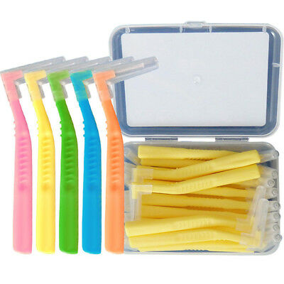 20pcs/box L Shaped Interdental Brush Orthodontic Toothbrushes Soft 0.6-1.5mm