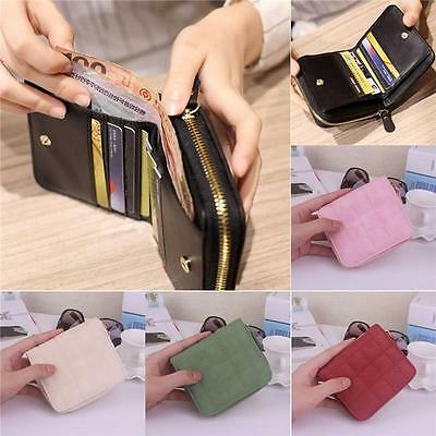 Ladies Womens PU Leather Card Holder Wallet Button Small Mini Purse Bag RE