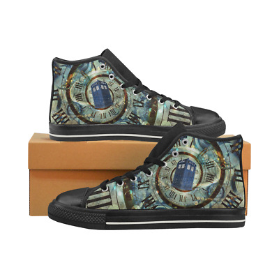 Tardis Doctor Who Lace Up Sneakers Classic High Top Canvas Shoes for Women