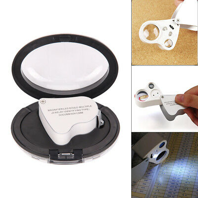 Magnifying Jeweller Eye Jewelry Lens Glass Loupe 30X/60X Magnifier LED Light New