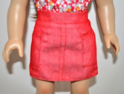 "American Girl Doll Our Generation Journey 18"" Doll Clothes Red Denim Mini Skirt"