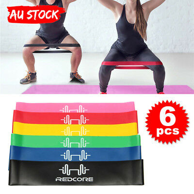 6Pcs Resistance Exercise Loop Bands Yoga Fitness Premium Natural Latex Gym Set