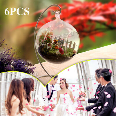 6Pcs Clear Hanging Glass Bauble Ball Tealight Candle Holder & Vase Wedding Decor