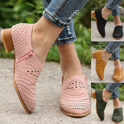 Womens Slip On Flatform Loafers Low Heel Brogues Oxfords Zip Pumps Casual Shoes