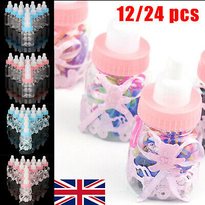 12/24X Fillable Bottles Candy Box Baby Shower Baptism Party Christening Hot