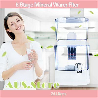 8 Stage 24L Water Filter Ceramic Carbon Mineral Benchtop Dispenser Purifier Top