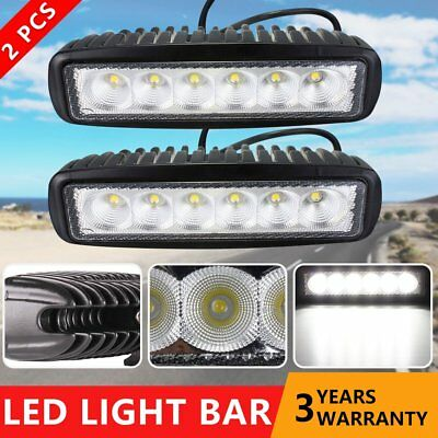 CREE 2x 6inch 30W LED Work Driving Light Bar Flood Beam Offroad 4WD Reverse 4x4