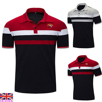 Mens Short Sleeve Polo Shirts Collared Golf Classic Summer Tops Blouse T-shirt
