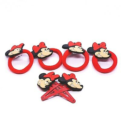 1Set-6Pcs New Minnie Mouse Mickey Girls Women Hair Bobbles Snap Clips Accessory