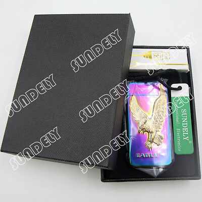 Electric Plasma X Double Arc Lighter Windproof Flameless Iridescence Eagle USB