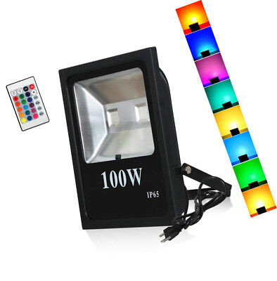 T-SUN Led Flood Lights,100W RGB Color Chang Waterproof Security Lights, With US