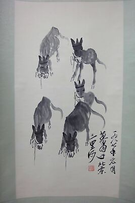 """Very Large Old Chinese Scroll Hand Painting Vivid Donkeys Marked """"HuangZhou"""""""