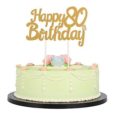 Gold Glitter Happy 80Th Birthday Cake Topper Party Decoration Supplies Kitchen