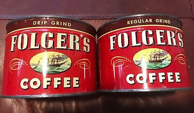 Rare! TWO full unopened Folgers collectible coffee tins, ca 1946!