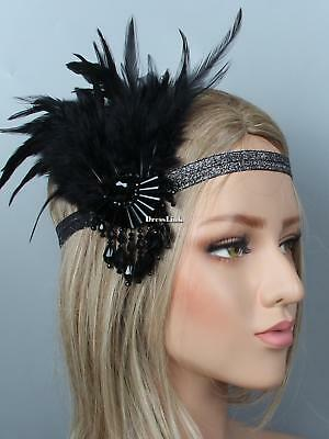 1920s Women Vintage Style Party Crystal Fringe Feather Flapper Headband DL0