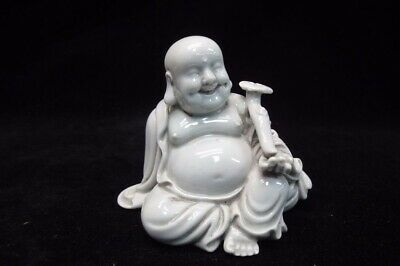 Old Chinese White Porcelain Lovely Maitreya Buddha Laughing Statue Sculpture