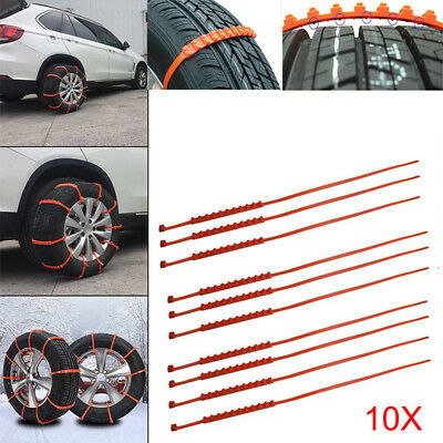 10 PCS Emergency Tire Chain Traction for Snow Ice Mud Kit For Car Van SUV CH