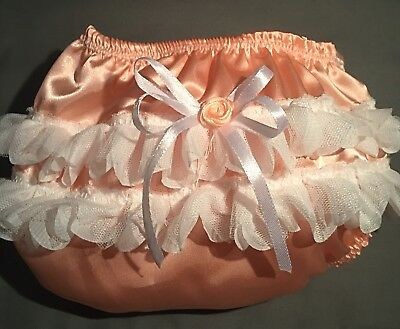 Frilly BOW knickers pants baby girl Spanish nappy cover Handmade Lacechristening