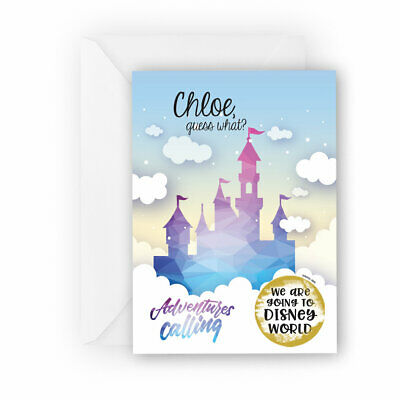 Personalised Going to Disney holiday reveal scratch card announcement