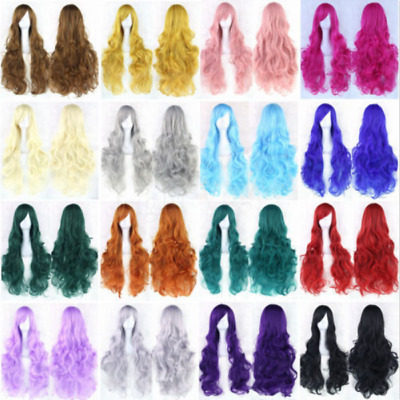 Women Fashion Lady Anime Long Curly Wavy Hair Party Cosplay Full Wigs 80CM