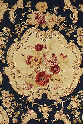 Curtain Antique French printed challis wool fabric block printed c1850