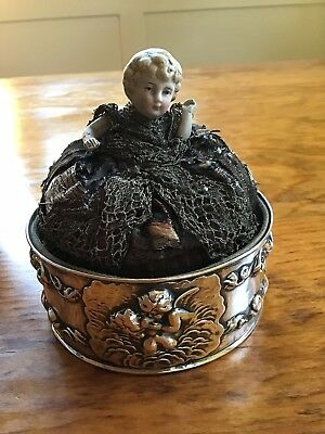 Unger STERLING SILVER Pin Cushion LOVE'S DREAM Half Porcelain Doll Sewing Cupid