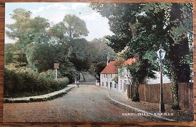 Antique Coloured Pc View Along Clay Hill Enfield North London Public House Smith