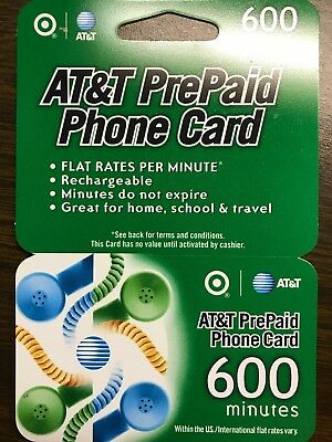 New 600 Minute AT&T PrePaid Phone Card Calling Card
