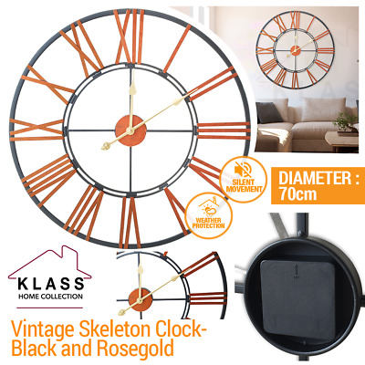 SKELETON GARDEN INDOOR WALL CLOCK ROMAN NUMERAL LARGE OPEN FACE METAL 70cm ROUND
