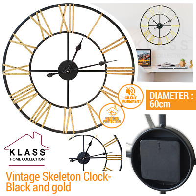 Skeleton Garden Indoor Wall Clock Roman Numeral Large Open Face Metal 60Cm Round