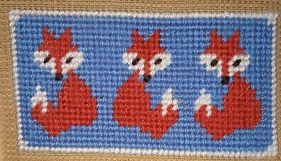 Modern Mini Tapestry: Unique Handmade 'Three Foxes' Sampler