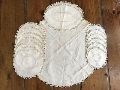 Vintage Linen Placemats Coasters Doilies Handmade  Lace Tatting Trim Embroidered