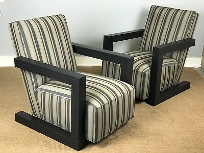 Ralph Lauren Henredon Modern Edward Lounge Chairs Striped (Priced Each)