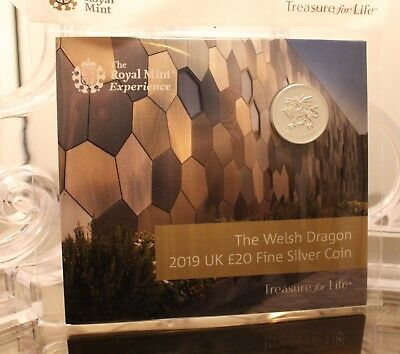 2019 The Welsh Dragon UK £20 Fine Silver Coin Exclusive to Royal Mint Experience